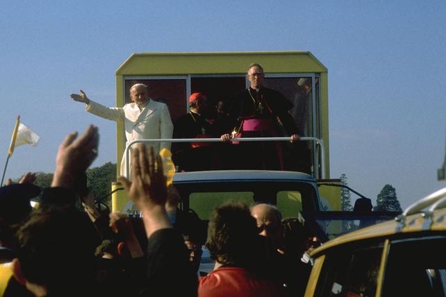 Pope John Paul II on the Popemobile (1979)