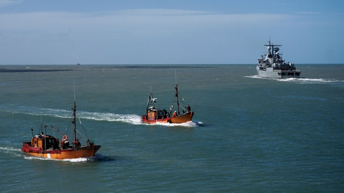 Vessels searching for the missing submarine
