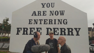 The Occupation presenter Micheal Bradley, with Derry Anti-War Movement member Eamonn McCann and producer Declan McGrath, on location in Derry