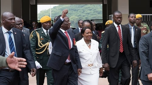 Emmerson Mnangagwa arriving with this wife Auxilia at the National Sport Stadium in Zimbabwe