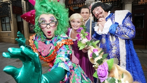 Joe Conlan (far left) with the cast of this year's Gaiety panto, Rapunzel