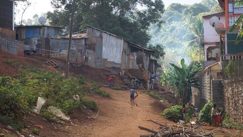 Shanty town on Mayotte where illegal migrants live