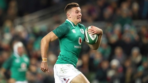 Jacob Stockdale scores his first try of the game