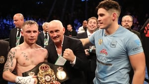 Carl Frampton, Barry McGuigan and Shane McGuigan in happier times after Frampton's title win over Leo Santa Cruz in 2016