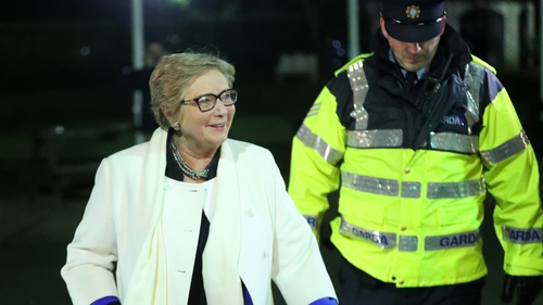 Frances Fitzgerald arriving at the Fine Gael Dublin West Convention this evening