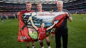 Joe Canning, Conor Whelan and Galway kitman Tex Callaghan pay tribute to Niall Donohue after the All-Ireland final