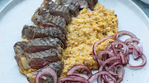 Rory O'Connell's Roast Sirloin of Beef with Creamed Corn and Pickled Red Onions