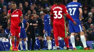 Chelsea manager Antonio Conte was sent off