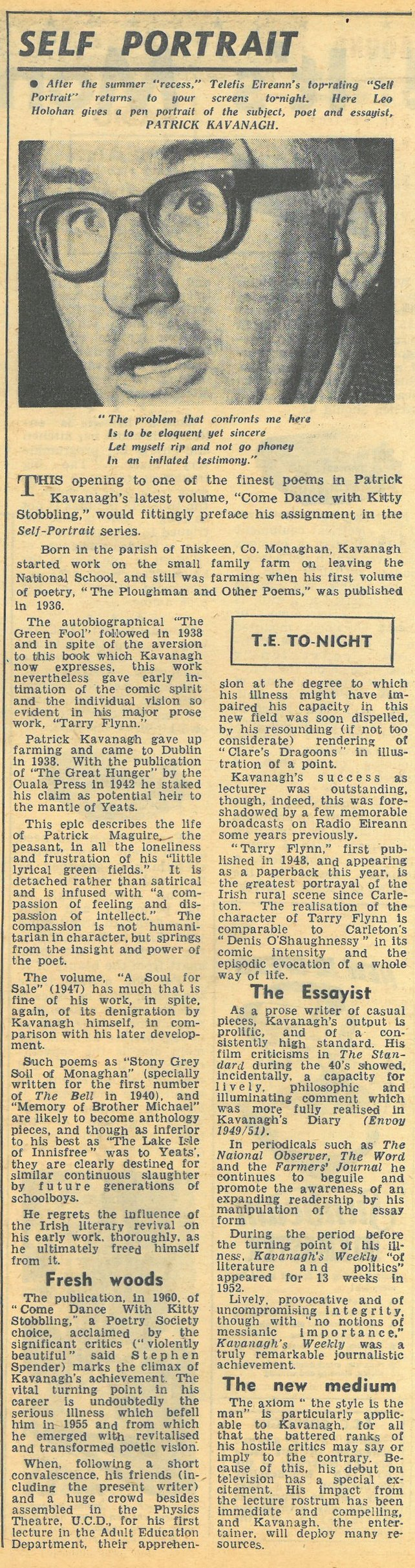 RTÉ Guide, Patrick Kavanagh 30 October 1962