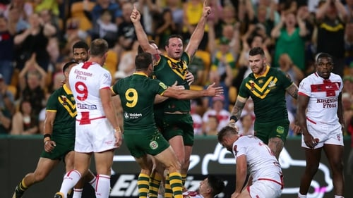 Boyd Cordner celebrates scoring the only try of the game