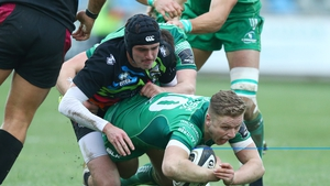 Zebre's Carlo Canna tackles Steve Crosbie of Connacht
