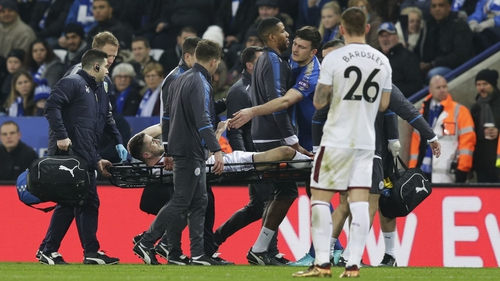 Robbie Brady being stretchered off at the King Power Stadium