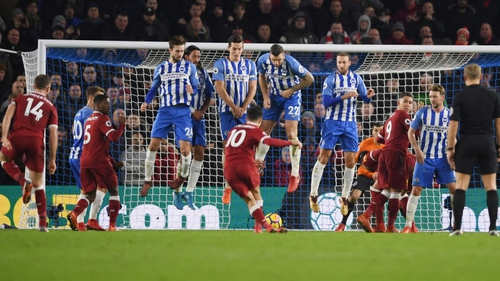 WATCH: Philippe Coutinho's cheeky free-kick as Liverpool beat Brighton