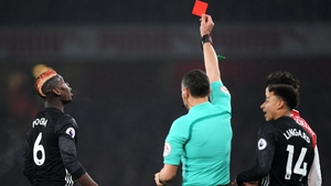 Pogba was sent off against Arsenal