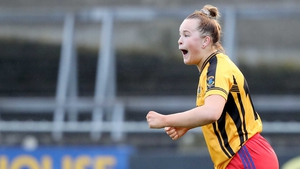 Vikki Wall celebrates a goal for Dunboyne