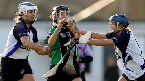 Clanmaurice's Jessica Fitzell battles with Caoimhe O'Leary with Laura O'Neill of Kilmessan