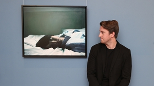 Jack Hickey pictured with his winning portrait, entitled 'My Time'. Photo: Leon Farrell