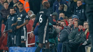 Paul Pogba receives his marching orders in the 3-1 victory over Arsenal