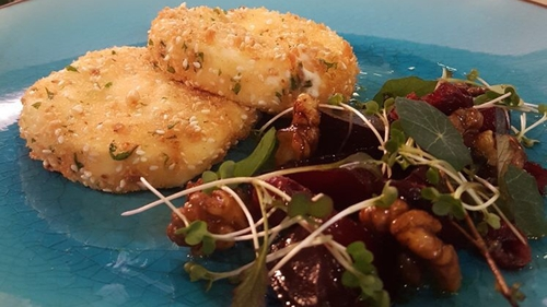Crispy Goats' Cheese with Roasted Beetroot, Cranberries, Watercress