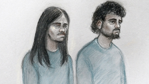 Court sketch of Naa'imur Zakariyah Rahman (L) and Mohammed Aqib Imran