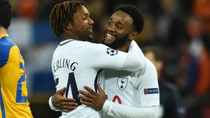 Kazaiah Sterling and Georges-Kevin N'Koudou celebrate at the full-time whistle