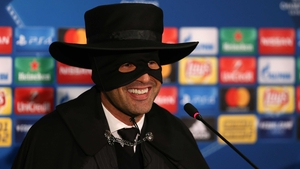 Shakhtar Donetsk boss Paulo Fonseca celebrated his team's 2-1 victory over Manchester City by fulfilling his promise to wear a Zorro mask if they made the last 16.