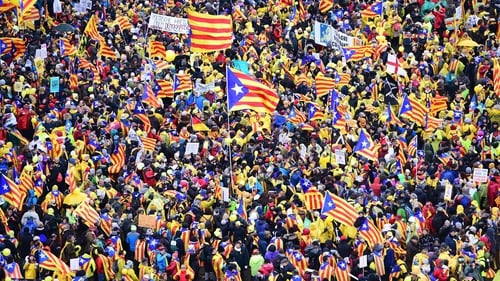 A sea of around 45,000 pro-Catalonia protesters demonstrated in Brussels
