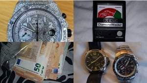Cash, watches and a diamond testing kit were seized