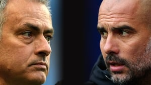 Pep Guardiola's side hold an eight point lead over Jose Mourinho's men