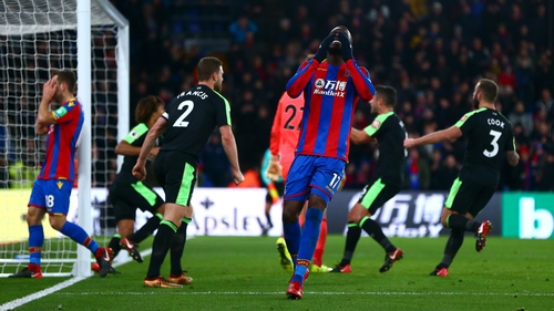 Christian Benteke reacts after his missed penalty on Saturday