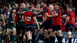 A scuffle breaks out between the two sides at Thomond Park