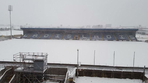 O'Moore Park covered by a blanket of snow. Picture courtesy of Laois GAA