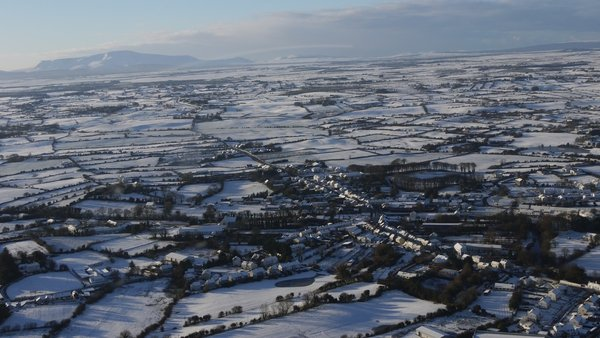 A bird's eye view of Crossmolina, Co Mayo, taken from a helicopter today (Pic: Eimear Cowman)
