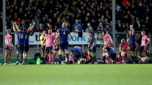 Leinster players celebrate Jack Conan's try in the second half