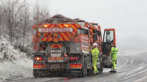 Gritting lorries on the M7 motorway in Co Limerick today