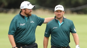 Shane Lowry (L) with Graeme McDowell