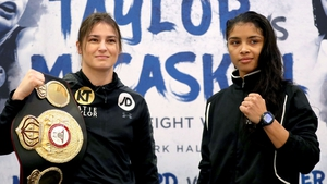 Katie Taylor and Jessica McCaskill at the press conference