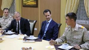 Vladimir Putin and Bashar al-Assad met at a military base in Latakia