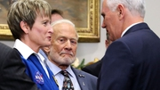 Buzz Aldrin, the second man to walk on the Moon, attends signing of  'Space Policy Directive 1'
