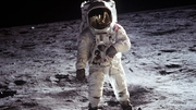 Buzz Aldrin walks on the Moon on 20 July 1969