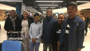 The entire Kanyamuhanga family were reunited at Dublin Airport this morning