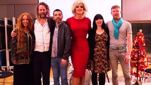 The Pantisocracy Christmas Special line-up (L-R): singer and actor Lisa Lambe, Hot House Flowers frontman Liam Ó Maonlaí, Panti Bliss, musician Seán Mac Erlaine, poet Doireann Ní Ghríofa and former Riverdance star Colin Dunne
