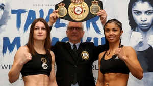 Katie Taylor (L) and Jessica McCaskill at today's weigh-in for their title bout