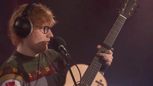 Ed Sheeran performing Fairytale of New York in the BBC Radio 1 Live Lounge