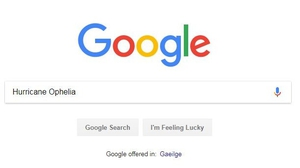 Hurricane Ophelia most searched for term this year on Google