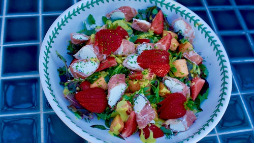 Catherine Fulvio's Prosciutto and Goats Cheese with Melon Strawberry Salad
