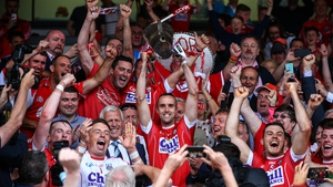 Cork's victorious Munster winning captain Stephen McDonnell lifts the cup in 2017
