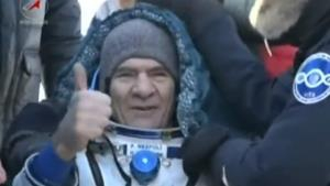 Paolo Nespoli gives a thumbs up after being taken from the Soyuz capsule (pic: ESA)