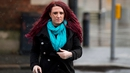 Jayda Fransen seen on her way into Belfast Magistrates' Court