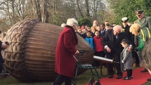 President and his wife were joined by people who contributed to the time capsule
